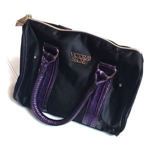 Victoria Secret black and glittered purple handbag